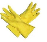 Yellow Flock Lined Latex Gloves